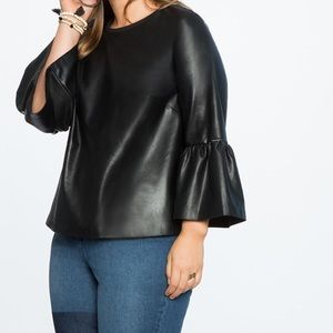 NWT Eloquii Faux Leather Flare Sleeve Top Sz 26